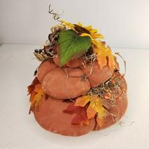 Primitive Artist Made Grungy Pumpkin Fall Harvest Sunflower Centerpiece ... - $49.45