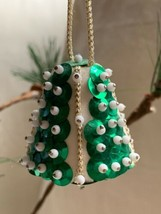 "2"" VTG Bell Christmas Ornament Beaded Sequin Green Beautiful Decoration - $24.75"