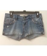 Womens Hollister Light Wash Denim Beaded Short Shorts Summer Mini SZ 0 W... - $14.95