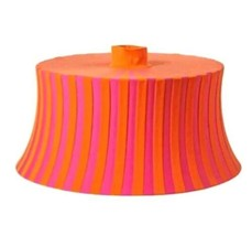"IKEA Amtevik Lamp Round Shade Orange Pink Stripes Size 22"" Fun Shape  - $24.74"