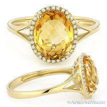 2.73ct Oval Cut Citrine Diamond Halo Engagement Cocktail Ring in 14k Yel... - £318.41 GBP