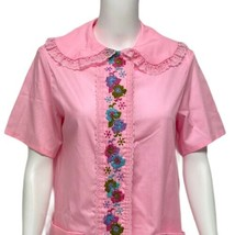 Vintage women's nightgown vintage embroidery front Made in USA size M 14-16 - $29.59