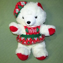 Vintage KMART 1990 Teddy Bear Christmas Holiday Red Green Knit Dress Whi... - $23.38