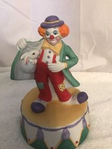 The San Francisco Music Box Company Musical Clown With Rabbit On Base - $28.05