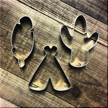 Set of TeePee Cactus Feather Metal Cookie Cutters #NAWK164 - $3.75
