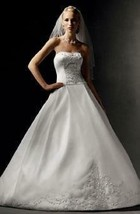 Oleg Cassini CV190 Strapless Beaded Ball Gown Wedding Dress Chapel Train... - $98.99