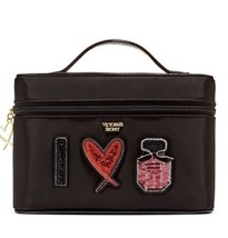 Victoria's Secret Makeup Bag Runway Patch Weekender Train Case Bling Black - Nwt - $39.99