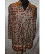 Chaps Womens Button Front Top Plus 2X Bouse Shirt New NWT Floral Flowers - $39.48