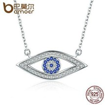BAMOER 100% Authentic 925 Sterling Silver Lucky Blue Eyes Punk Pendant N... - $26.99