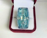 LIQUIDATON!! $76500 RARE 18KT 53CT RARE LRG GORGEOUS PARAIBA AND DIAMOND RING