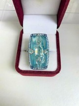 LIQUIDATON!! $76500 RARE 18KT 53CT RARE LRG GORGEOUS PARAIBA AND DIAMOND... - $30,294.00