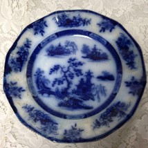 Antique,Rare,Wegdwood Chapoo,Variant Flow Blue Willow,10.5in Wall Display Plate - $37.95