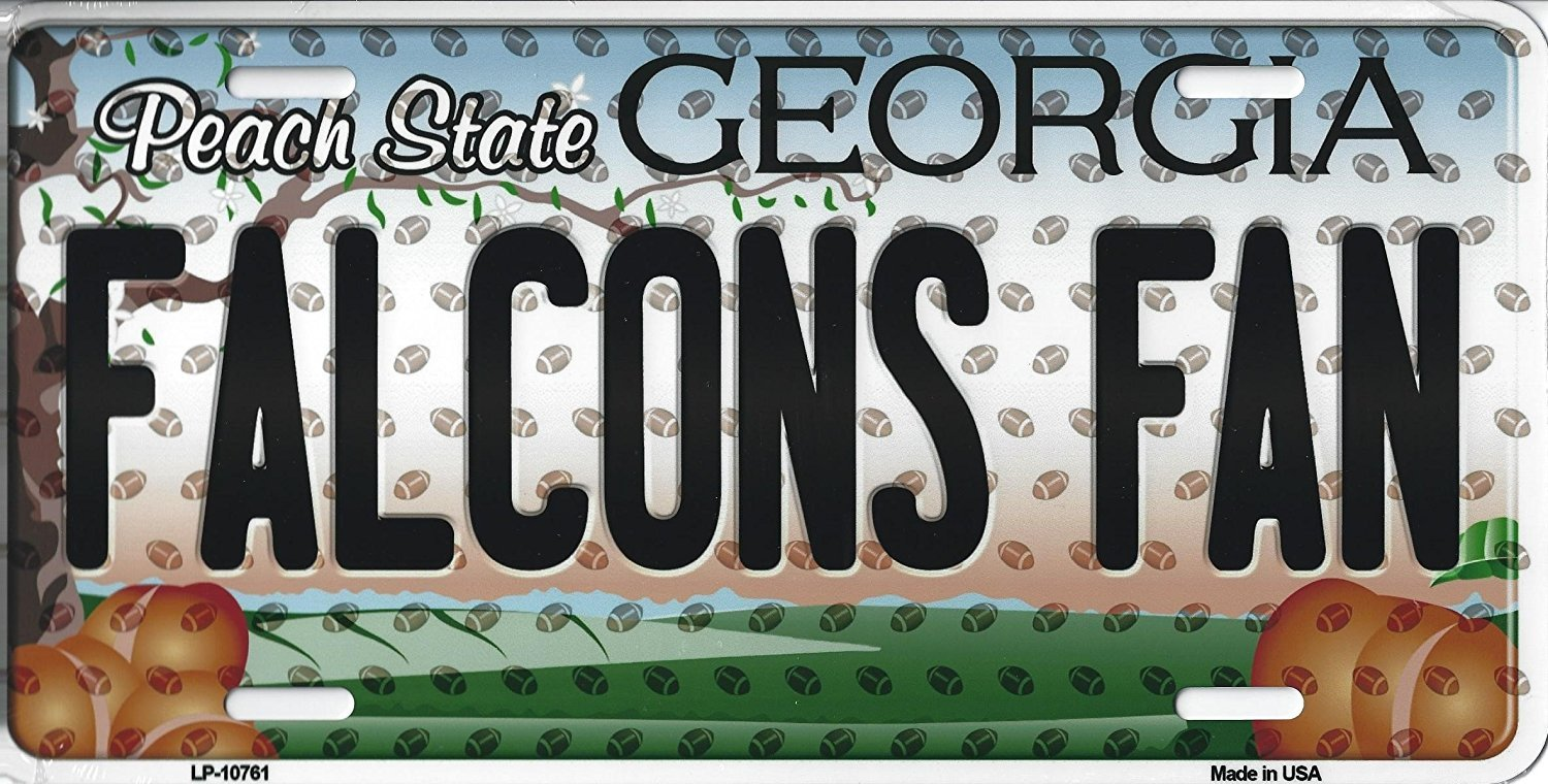 Falcons Georgia State Background Metal License Plate Tag (Falcons Fan)
