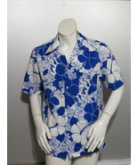 Vintage Hawaiian Shirt - Blue and White Floral Pattern by Pomara - Mens ... - $49.00