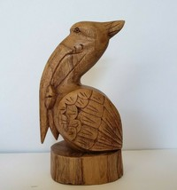 "Carved Wood Pelican Bird With Fish Wooden Figurine 8.5"" - $24.98"