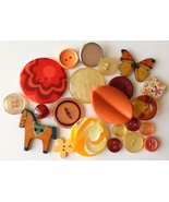 Lot of Orange Buttons Wood Plastic Metal Vintage & New - $6.99