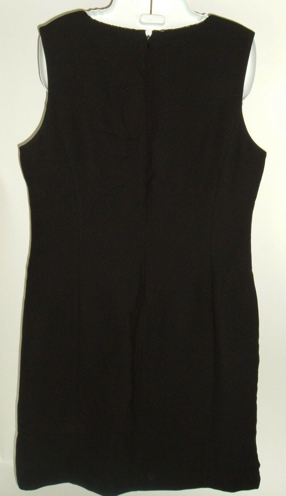 Women's Petite Sophisticate Black Shift Dress Sz 12 Vtg 90s LBD Beaded Neckline image 3