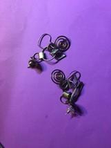 vintage repurposed earrings 1980s dangle drop copper and metal - $23.38
