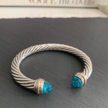 DAVID YURMAN 7mm Blue Topaz with Gold Cable Classics Cuff Bracelet Silver - $395.00