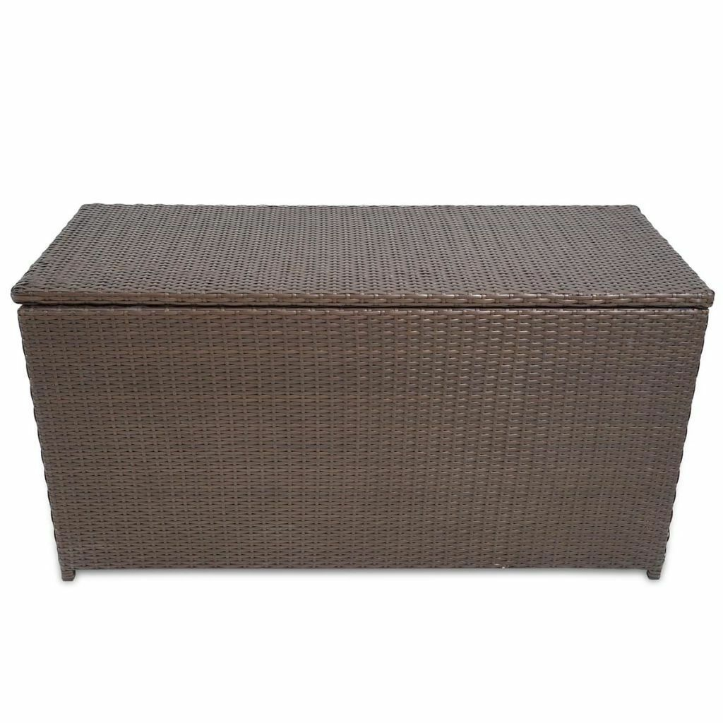 vidaXL Garden Storage Chest Poly Rattan Bench Cabinet Box Organizer 2 Colors image 7
