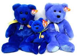 Ty Clubby I & II Blue Bears Beanie Baby SET OF 3 Great Condition - $13.42