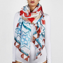 "NWT Printed Village Red Blue White American West Scarf Shawl Wrap 75"" x 37"" - $16.99"