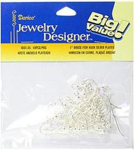Darice Earring Fish Hooks (Silver Plated Brass) - Pack of 48 (1 In.) 4 p... - $29.56