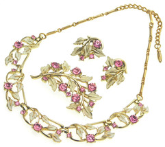 Vintage CORO Enamel & Rhinestone Necklace Brooch Earrings Set Off White & Pink - $44.95