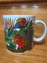 Vintage 1989 The Secret Jungle Coffee Mug Laurel Burch Japan Exotic Anim... - $28.89