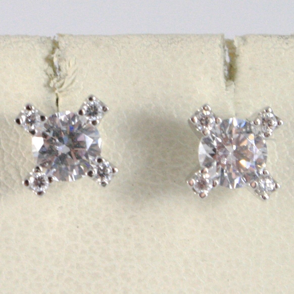 18K WHITE GOLD 7 MM FLOWER CROSS EARRINGS WITH ZIRCONIA 1.2 CARATS MADE IN ITALY