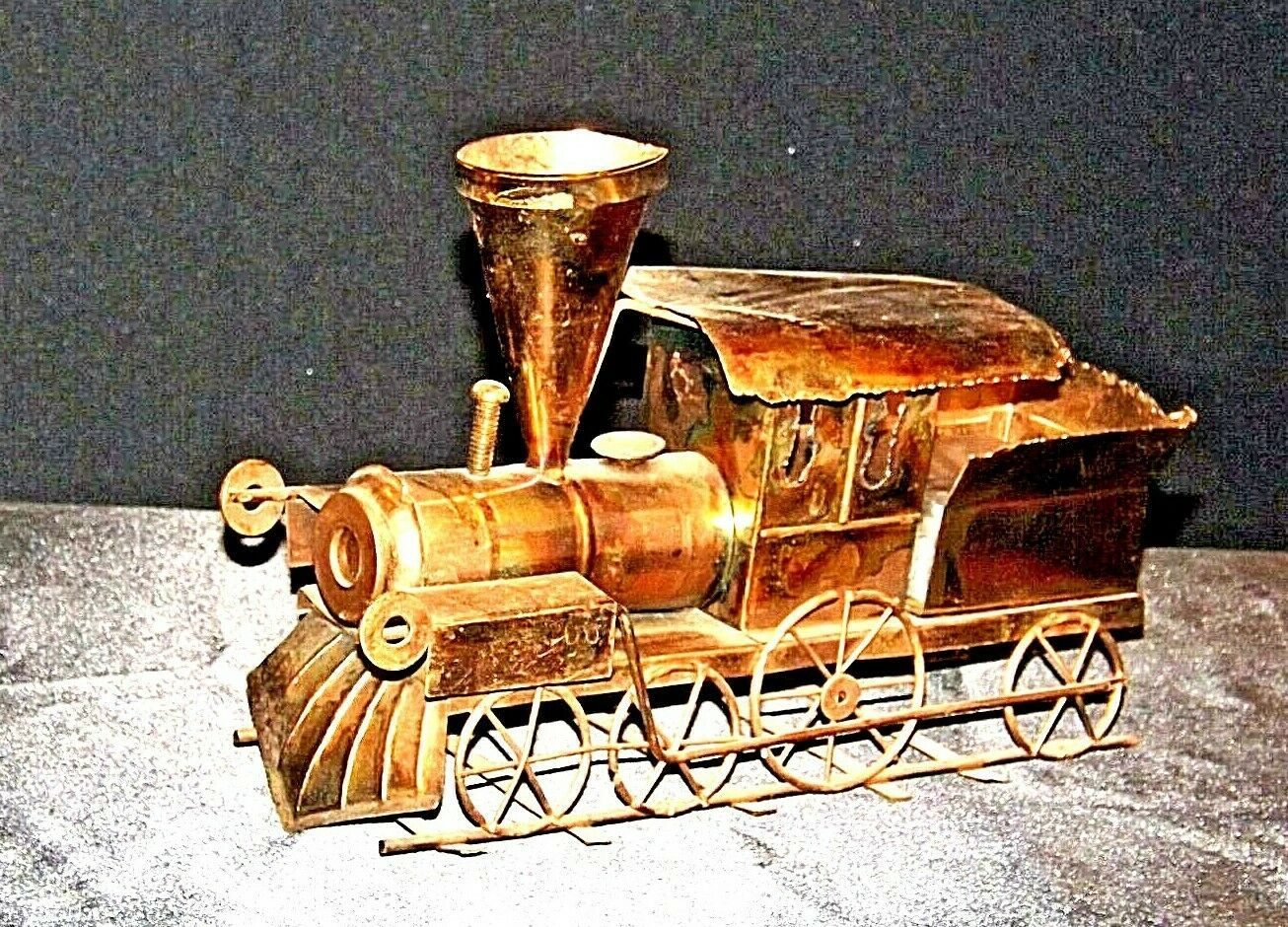 Metal Train Engine Music Box AA19-1504 Vintage