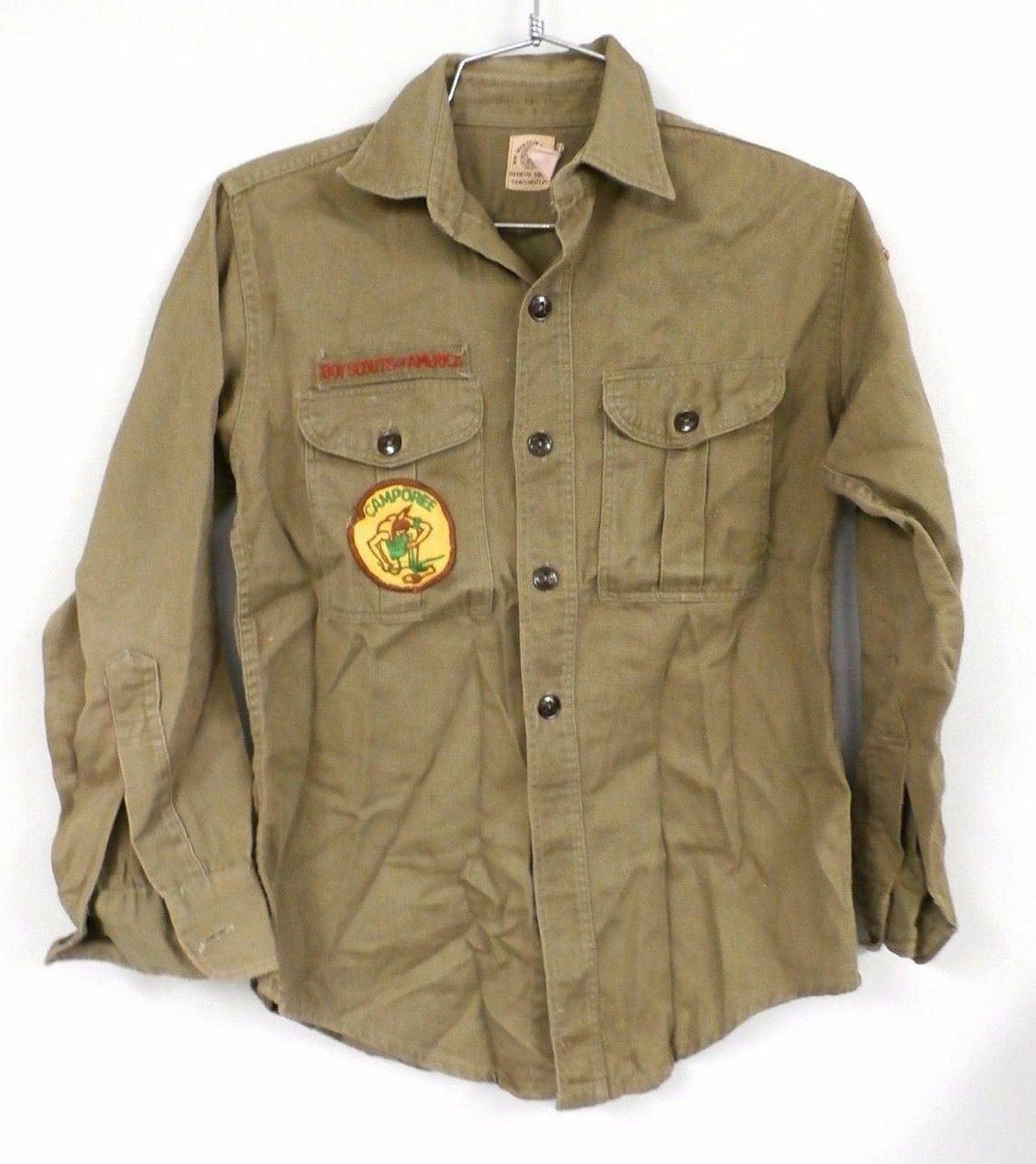 "Vtg 1960s Boy Scout of America BSA USA  Sanforized Patch Uniform Shirt Sz M 36"" - $42.77"