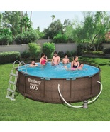 RATTAN SWIMMING POOL 366 cm 12FT Garden Round Above Ground Pool with PUMP SET - $799.99