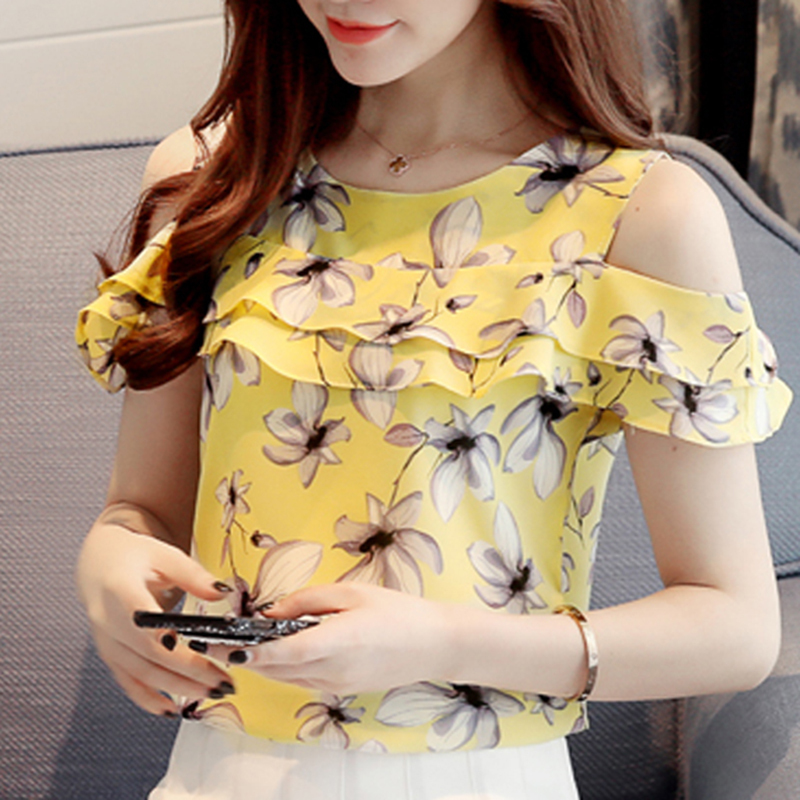 2017 Women Off Shoulder Short Sleeve Blouses Print Floral Chiffon Shirts Casual  image 3