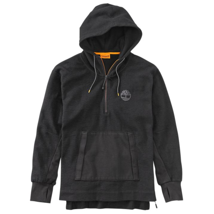 Primary image for TIMBERLAND A1MBL-001 MEN'S BLACK 1/4 ZIP PULLOVER HOODIE