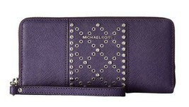 MICHAEL KORS MONEY PIECES LARGE ZIP AROUND STUDDED TRAVEL WALLET PURPLE ... - £91.34 GBP