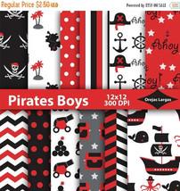 Pirate birthday, digital paper, pirate ship, polka dots, red chevron, bl... - $2.25