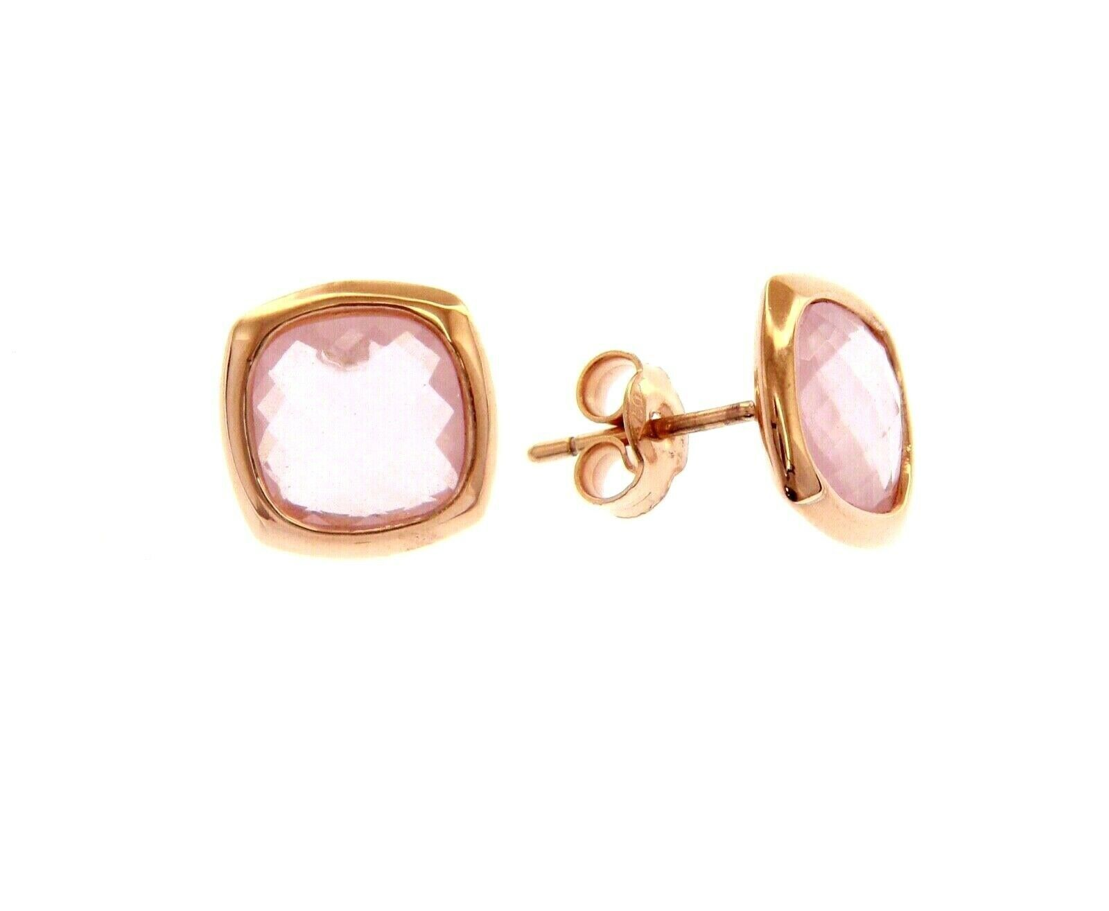 18K ROSE GOLD LOBE EARRINGS BUTTON WITH PINK SQUARE CRYSTAL CUSHION CUT