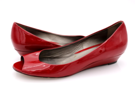 Cole Haan Womens 9B Red Patent Leather Air Elly Peep Toe Heels Pumps Shoes  - $44.99