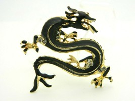 Black Enamel Clear Rhinestone Gold Tone Dragon Pin Brooch Vintage - $24.74