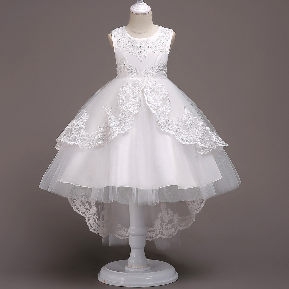 White High Low Flower Girls Dresses Little Girls Pageant Gowns Cute Beaded Gowns