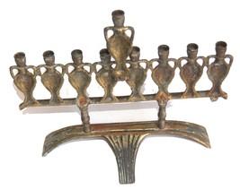 Judaica Menorah Hanukkah Vintage Israel Bronze Hen Holon Signed Oil Jug 1960's image 4
