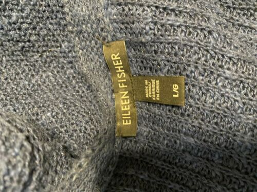Eileen Fisher Blue Large Knit Cardigan Sweater Zip Front Organic Linen Cotton image 5