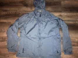 L. L. BEAN ~ Men's Stowaway Jacket Hideaway Hood Blue Nylon Windbreaker ~ L - $25.23
