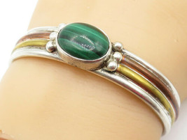 925 Silver - Vintage Malachite Ball Bead Detail Three Tone Cuff Bracelet... - $84.62
