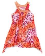 HavenGirl Sun Dress Orange Pink Sequin Leopard Flowers High Low Haven Gi... - $16.82