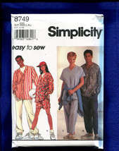 Simplicity 8749 Baseball Shirts & Scrubs for Men or Women Size L to XL U... - $3.00