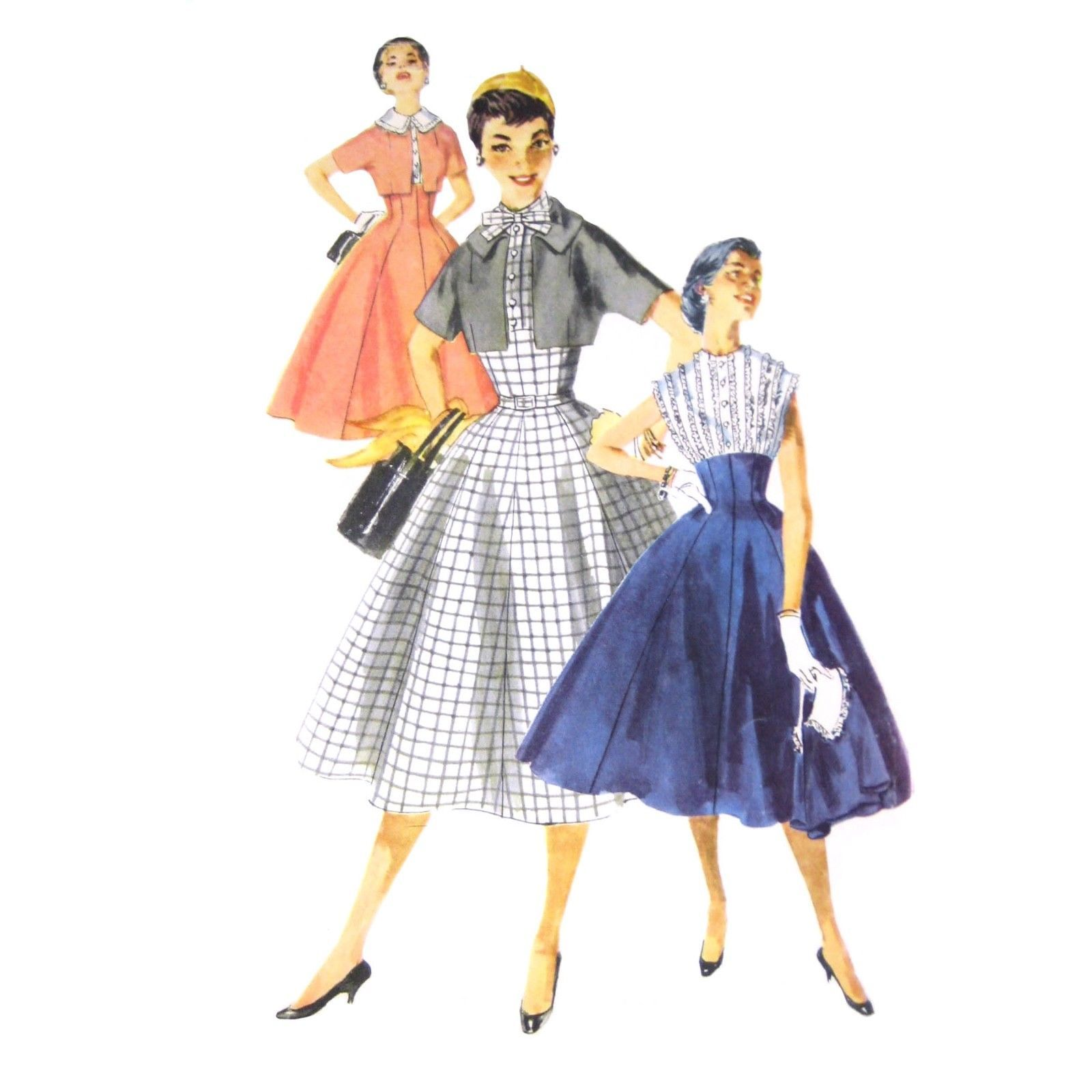 Primary image for 50s Vtg Simplicity Sewing Pattern 1006 Misses Fit Flared Dress Bolero Jacket 12