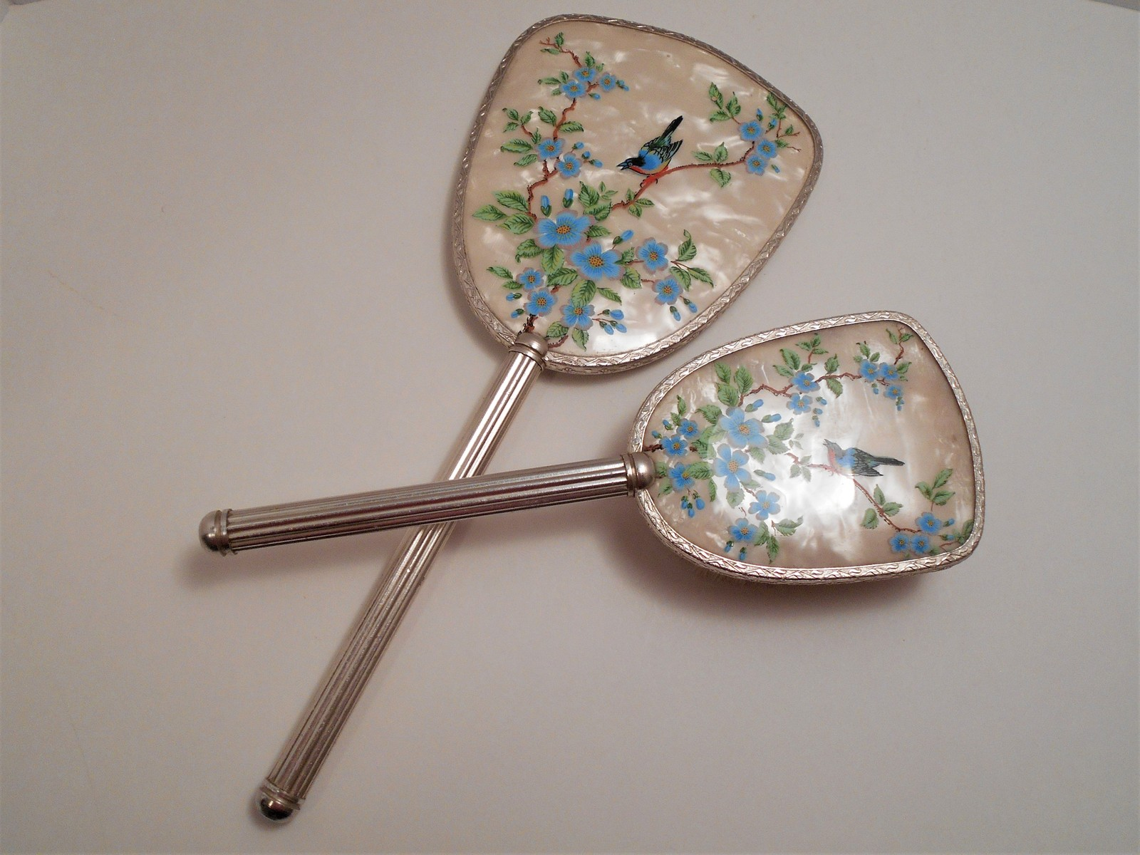 Vintage Bird Picture Hand Mirror & Brush Made in England image 7