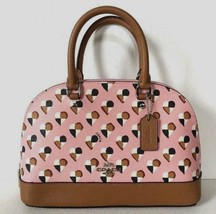 New Coach 25916 mini Sierra Satchel Checkers Heart Print handbag Blush m... - $119.00